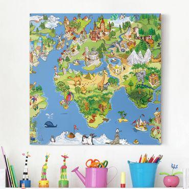 Leinwandbild - Great And Funny Worldmap - Quadrat 1:1