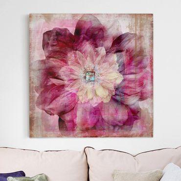 Leinwandbild - Grunge Flower - Quadrat 1:1
