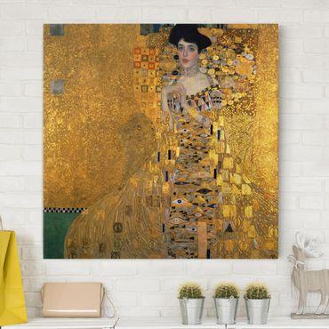 Leinwandbild Gustav Klimt - Kunstdruck Bildnis der Adele Bloch-Bauer I - Quadrat 1:1 -Jugendstil