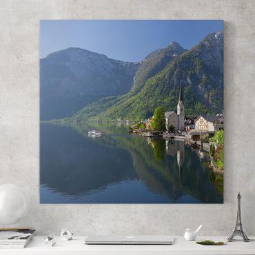 Leinwandbild - Hallstätter See und Bergblick - Quadrat 1:1