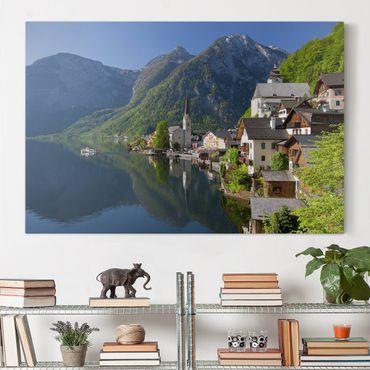Leinwandbild - Hallstätter See und Bergblick - Quer 3:2