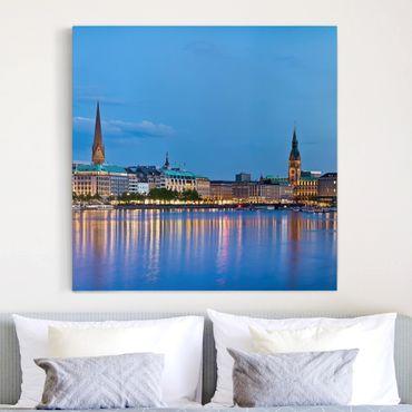 Leinwandbild - Hamburg Skyline - Quadrat 1:1