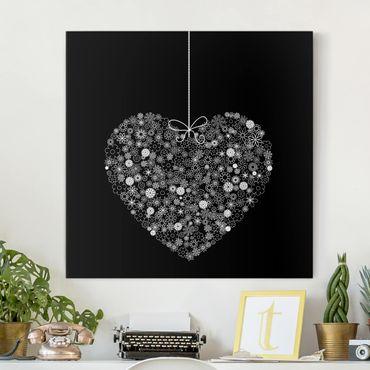 Leinwandbild Schwarz-Weiß - Heart Giveaway - Quadrat 1:1