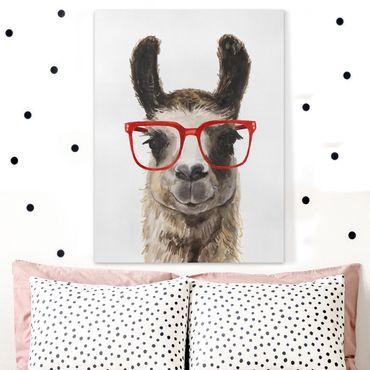 Leinwandbild - Hippes Lama mit Brille II - Hochformat 4:3