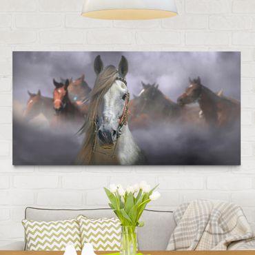 Leinwandbild - Horses in the Dust - Quer 2:1