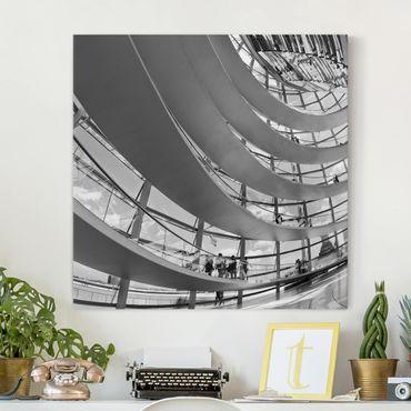 Leinwandbild Schwarz-Weiß - Im Berliner Reichstag II - Quadrat 1:1