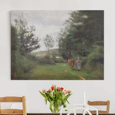 Leinwandbild - Jean-Baptiste Camille Corot - Ville d'Avray, Bäuerin mit einer Kuh - Quer 4:3