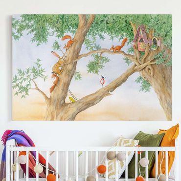 Leinwandbild - Josi Hase - Wohnung der Eichhörnchen - Querformat 3:2