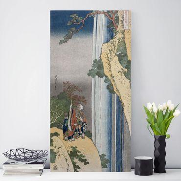 Leinwandbild - Katsushika Hokusai - Der Dichter Rihaku (Li Bai) versunken angesichts der Erhabenheit des großen Wasserfalls am Berg Lu - Hoch 1:2