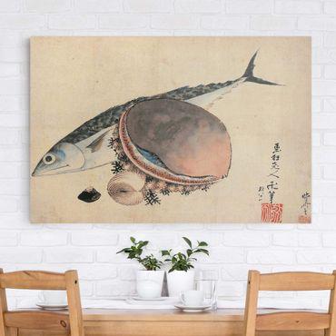 Leinwandbild - Katsushika Hokusai - Makrele und Seemuscheln - Quer 3:2