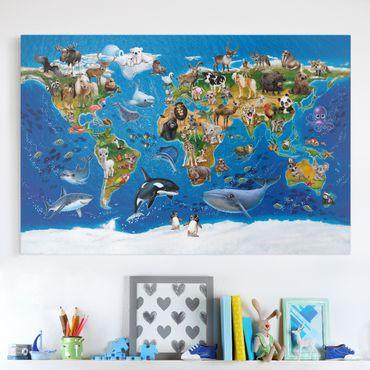 Leinwandbild Kinderzimmer - Weltkarte mit Tieren - Querformat 3:2