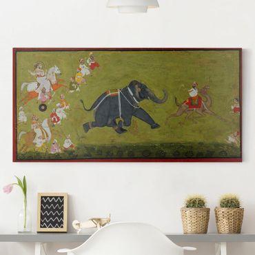 Leinwandbild - Maharaja Jagat Singh verfolgt einen fliehenden Elefanten - Quer 2:1