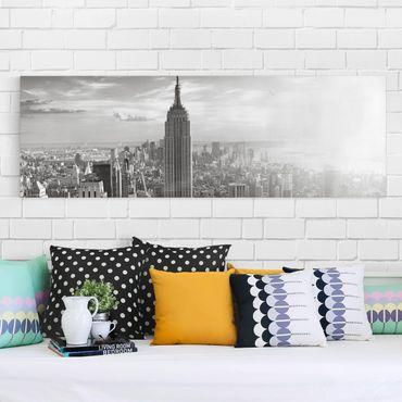 Leinwandbild Schwarz-Weiß - Manhattan Skyline - Panoramabild Quer