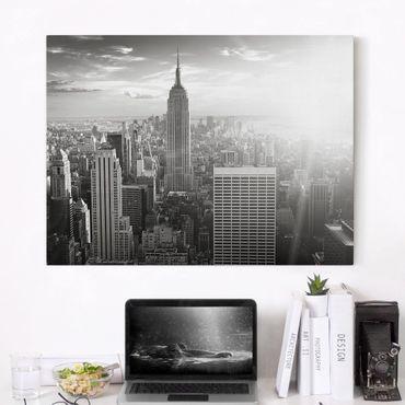 Leinwandbild Schwarz-Weiß - Manhattan Skyline - Quer 4:3