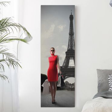 Leinwandbild Schwarz-Weiß - Mode de la Paris - Panoramabild Hoch