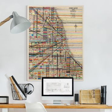 Leinwandbild - Moderne Karte von Chicago - Hochformat 4:3