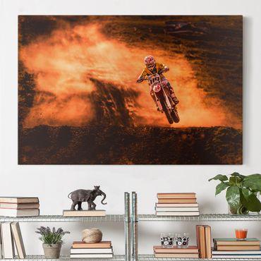 Leinwandbild - Motocross im Staub - Quer 3:2