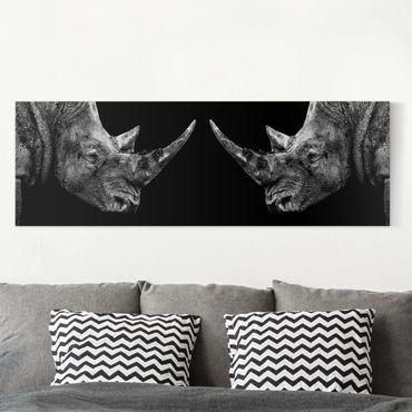 Leinwandbild Schwarz-Weiß - Nashorn Duell - Panoramabild Quer