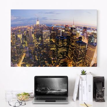 Leinwandbild - New York Skyline bei Nacht - Quer 3:2