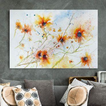Leinwandbild - Painted Flowers - Quer 3:2