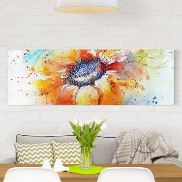 Leinwandbild - Painted Sunflower - Panorama Quer