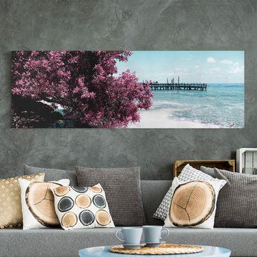 Leinwandbild - Paradies Strand Isla Mujeres - Panorama Quer