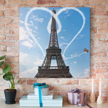 Leinwandbild - Paris - City of Love - Quadrat 1:1