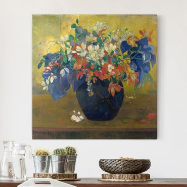 Leinwandbild - Paul Gauguin - Blumen in einer Vase - Quadrat 1:1