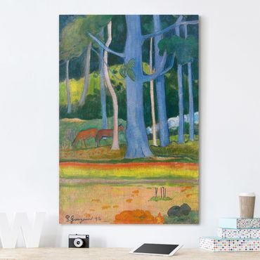 Leinwandbild - Paul Gauguin - Landschaft mit blauen Baumstämmen - Hoch 2:3
