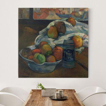 Leinwandbild - Paul Gauguin - Obstschale und Krug vor einem Fenster - Quadrat 1:1