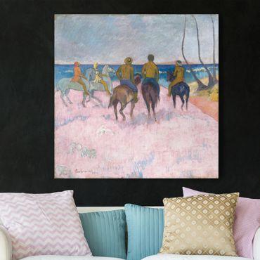 Leinwandbild - Paul Gauguin - Reiter am Strand (I) - Quadrat 1:1