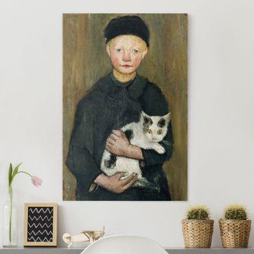 Leinwandbild - Paula Modersohn-Becker - Knabe mit Katze - Hoch 2:3