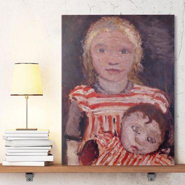 Leinwandbild - Paula Modersohn-Becker - Mädchen mit Puppe - Hoch 3:4