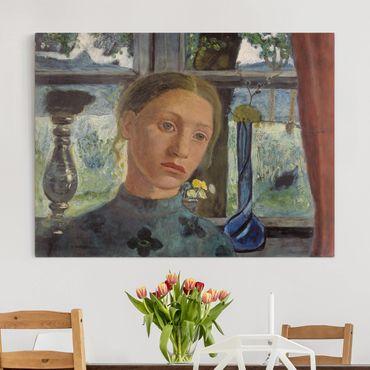 Leinwandbild - Paula Modersohn-Becker - Mädchenkopf vor einem Fenster - Quer 4:3