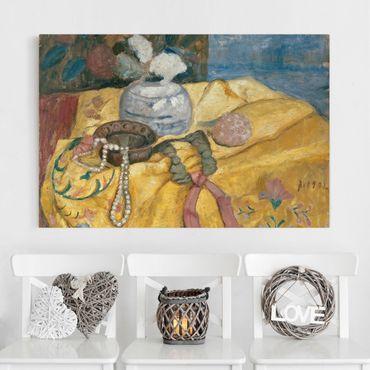 Leinwandbild - Paula Modersohn-Becker - Stillleben mit Perlen und Vase - Quer 3:2