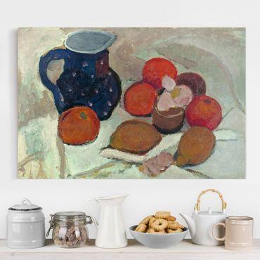 Leinwandbild - Paula Modersohn-Becker - Stillleben mit blauem, weißgetüpfeltem Krug (II) - Quer 3:2