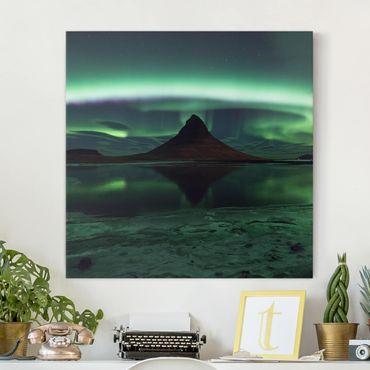 Leinwandbild - Polarlicht in Island - Quadrat 1:1