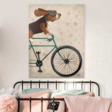Leinwandbild - Radtour - Basset auf Fahrrad - Hochformat 4:3