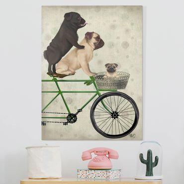 Leinwandbild - Radtour - Möpse auf Fahrrad - Hochformat 4:3