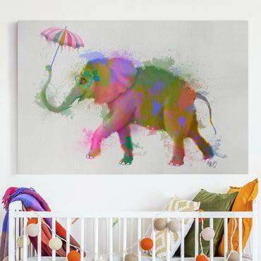 Leinwandbild - Regenbogen Splash Elefant - Querformat 2:3