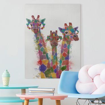 Leinwandbild - Regenbogen Splash Giraffen-Trio - Hochformat 4:3