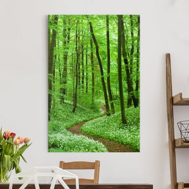 Leinwandbild - Romantischer Waldweg - Hoch 2:3