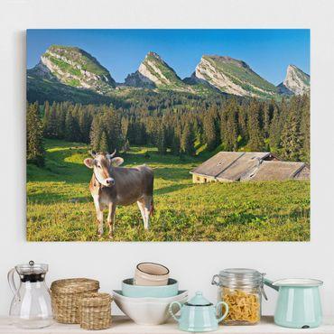 Leinwandbild - Schweizer Almwiese mit Kuh - Quer 4:3