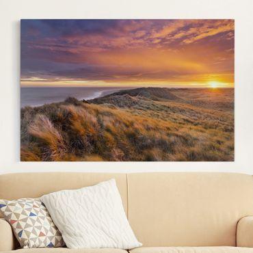 Leinwandbild - Sonnenaufgang am Strand auf Sylt - Quer 3:2