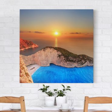 Leinwandbild - Sonnenuntergang über Zakynathos - Quadrat 1:1