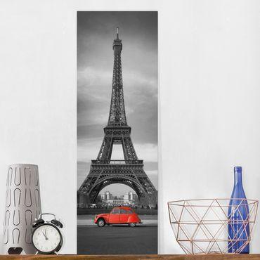 Leinwandbild Schwarz-Weiß - Spot on Paris - Panoramabild Hoch
