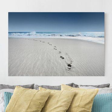 Leinwandbild - Spuren im Sand - Quer 3:2