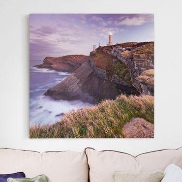 Leinwandbild - Steilküste und Leuchtturm - Quadrat 1:1