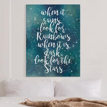 Leinwandbild - Sternenhimmel Regenbogen - Hochformat 4:3
