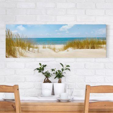 Leinwandbild - Strand an der Nordsee - Panorama Quer